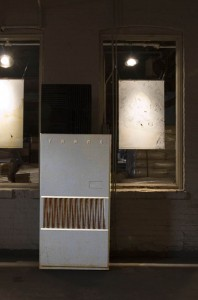 Figure 7: Installation view, Leigh Ann Hallberg's The Four Humours with TRANE furnace.