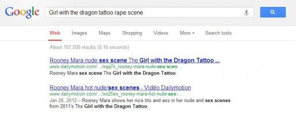 "Google search for ""girl with the dragon tattoo rape scene"""
