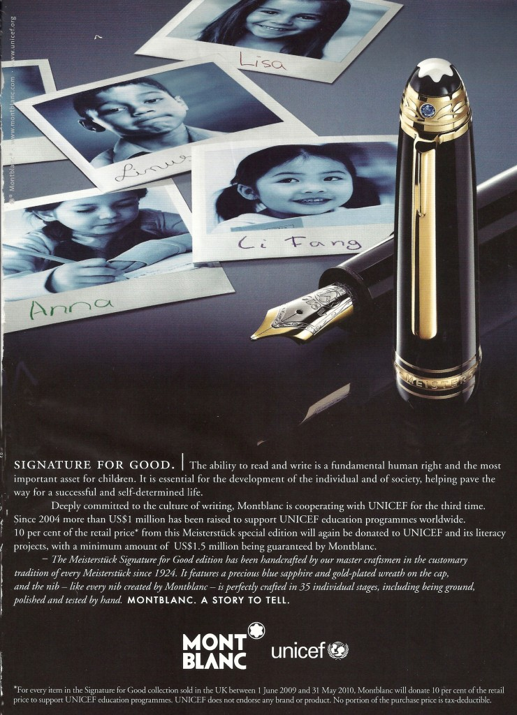Montblanc advertisment, 2009, Photograph, Courtesy of Montblanc and Sidhu & Simon Communications