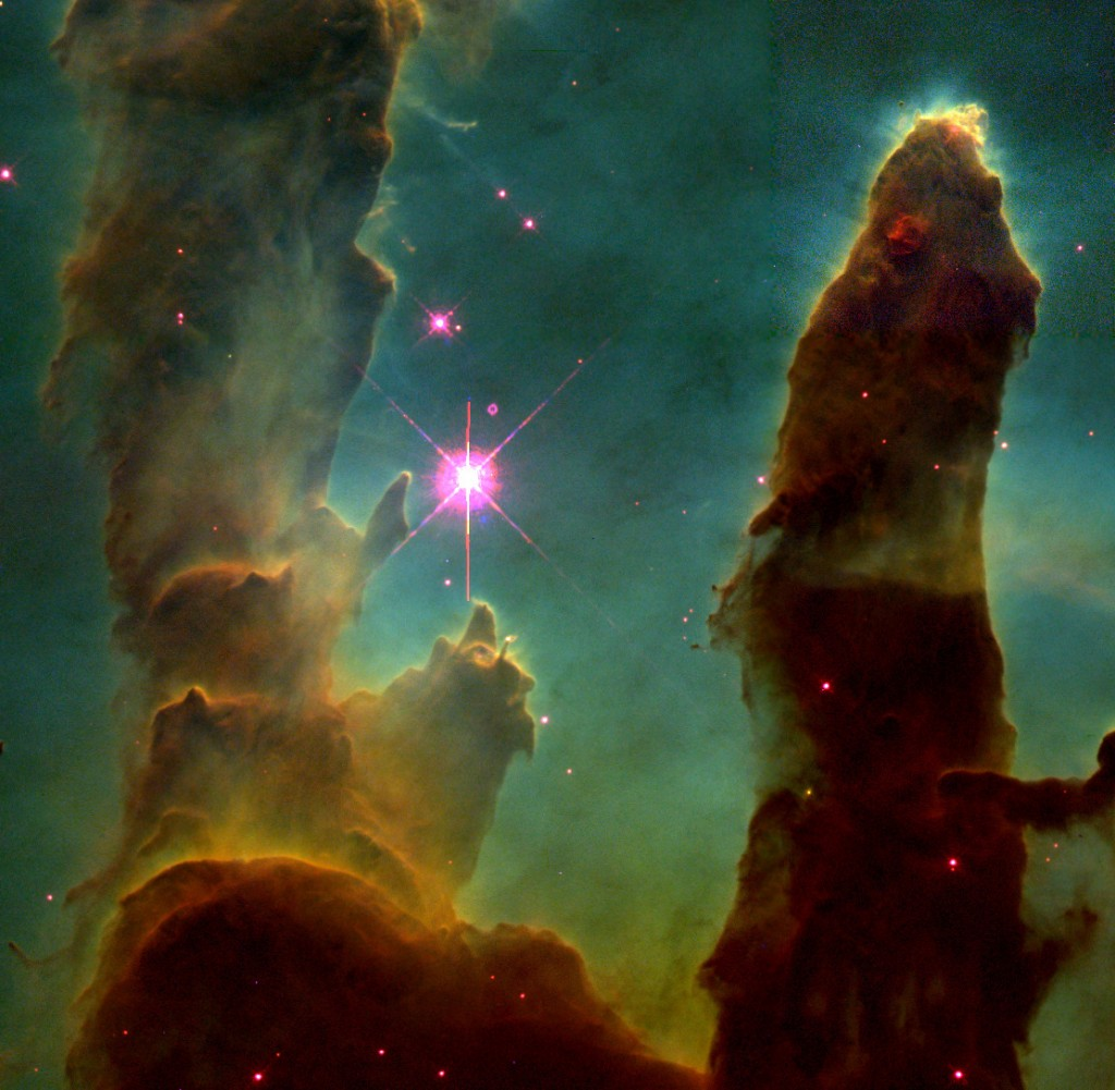 Figure 1. 'Gas Pillars in the Eagle Nebula (M16): Pillars of Creation in a Star-Forming Region,' NASA, ESA,STSsl, J. Hester and P. Scowen (Arizona State University)