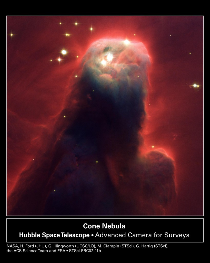 Figure 2. 'Cone Nebula (NGC 2264): Star-Forming Pillar of Gas and Dust.' Courtesy NASA, H. Ford (JHU), G. Illingworth (UCSC/LO), M.Clampin (STScI), G. Hartig (STScI), the ACS Science Team, and ESA.