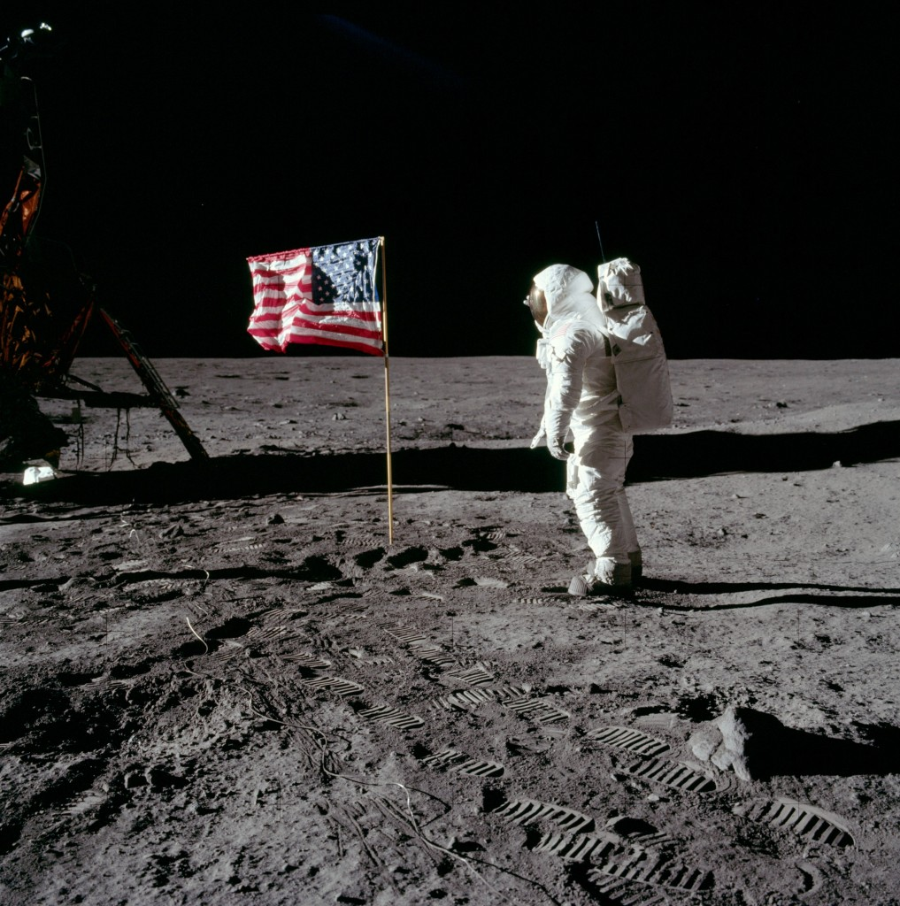 Figure 3. Buzz Aldrin with U.S. flag on the Moon on July 20th, 1969. Source: NASA Apollo Archive
