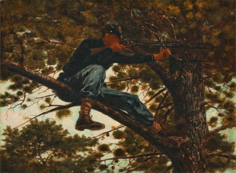 Winslow Homer (American, 1836-1910), Sharpshooter, 1863, oil on canvas, 12 ¼ x 16 ½ inches. Portland Museum of Art, Maine. Gift of Barbro and Bernard Osher, 1992.41