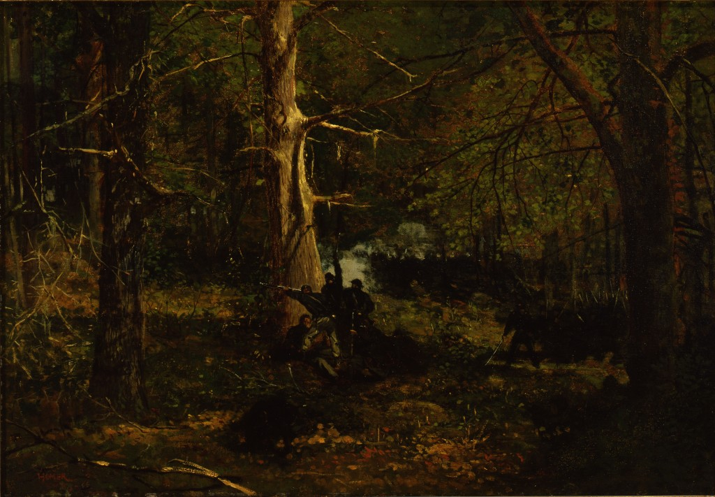 Winslow Homer (American, 1836-1910), Skirmish in the Wilderness, oil on canvas mounted on masonite, 18 x 26 ¼ inches. New Britain Museum of American Art. Harriet Russell Stanley Fund, 1944.05