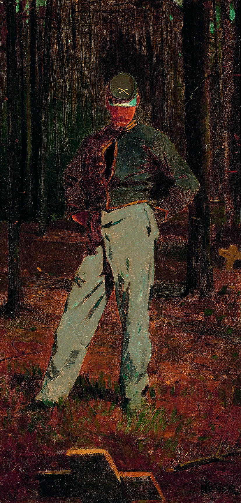 Winslow Homer (American, 1836-1910), Trooper Meditating Beside a Grave, c. 1865, oil on canvas, 16 x 8 inches. Joslyn Museum, Omaha, Nebraska. Gift of Dr. Harold Gifford and Ann Gifford Forbes, 1960.298