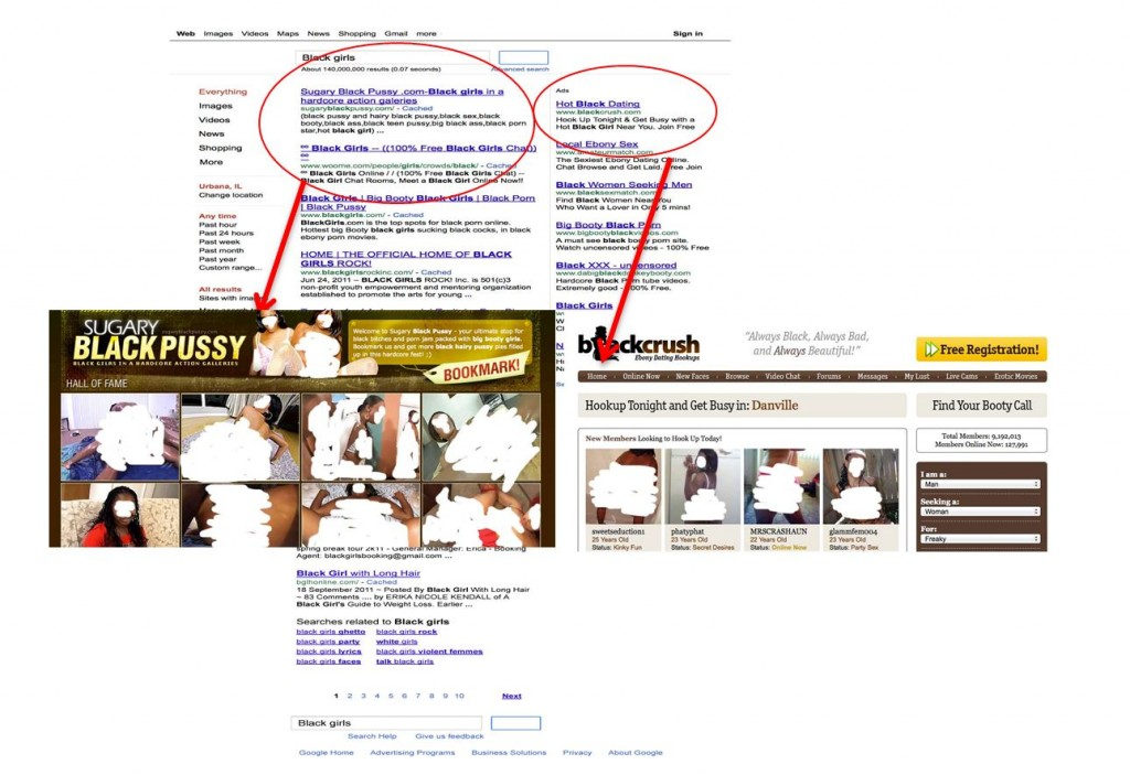 Figure 4. First page (partial) of results on Black girls in a Google Search with first result detail and advertising.