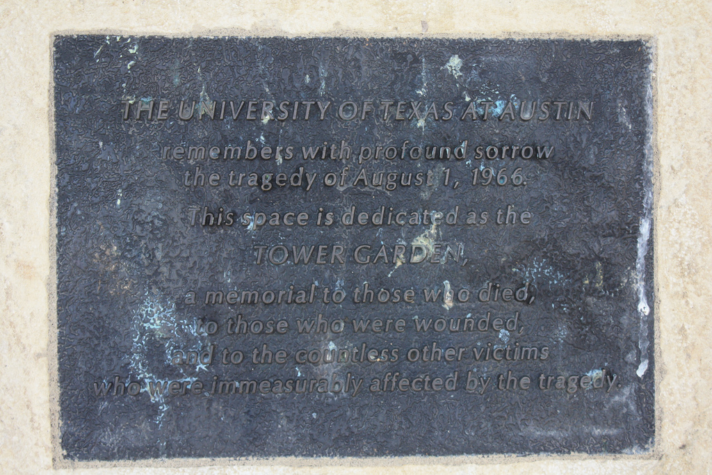 Detail view of memorial plaque dedicated to the victims of the 1966 shootings at University of Texas, Austin.