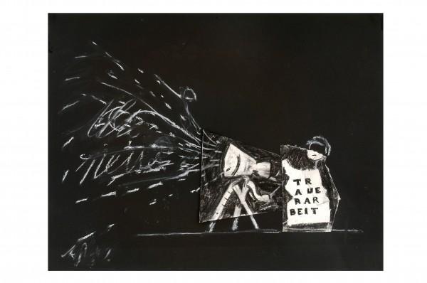 William Kentridge, Untitled -- Drawing for Black Box / Chambre Noire, 2005. Photo: John Hodgkiss. Deutsche Guggenheim, © William Kentridge