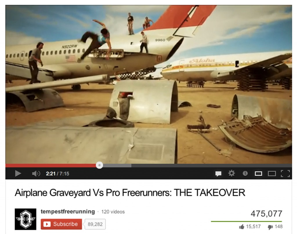 "Figure 14. tempestfreerunning, ""Airplane Graveyard Vs ProFreerunners: THE TAKEOVER,"" 2013, YouTube.com"