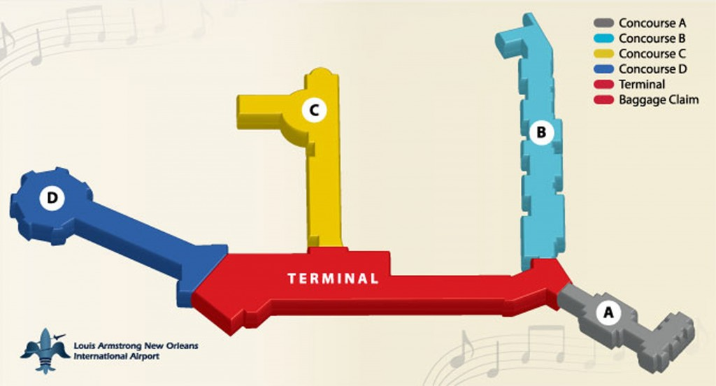 Figure 5. Terminal map, Louis Armstrong International Airport, 2014.