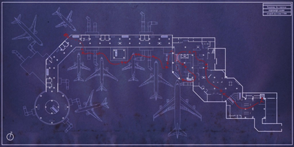 "Figure 7. Plan schematics for ""No Russian"" assault, Infinity Ward, Modern Warfare 2, 2009, PC, Xbox360, Playstation3, OSX."