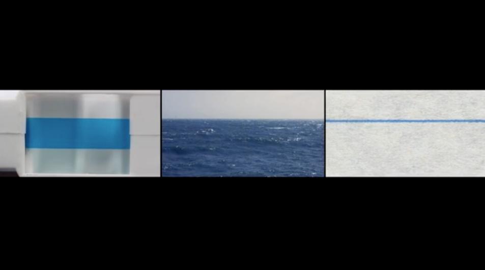 Still from Cassette Tape Leader, Ocean Horizon, and Ruled Paper Line