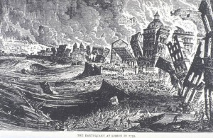 Figure 3. View of the Lisbon earthquake, November 1st, 1755. From Hartwig, Georg Ludwig. Volcanoes and Earthquakes: A Popular Description in the Movements in the Earth's Crust. London. 1887. Courtesy of the National Information Service for Earthquake Engineering, EERC, University of California, Berkeley