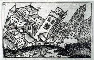 Figure 2. Medieval illustration of biblical earthquake (1493). Courtesy of the National Information Service for Earthquake Engineering, EERC, University of California, Berkeley