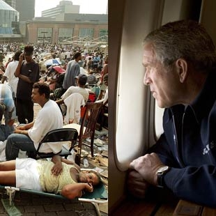 """Figure 6. """"Bushcares,"""" New Orleans, Louisiana, September 2005. Image juxtaposition by unknown artist."""