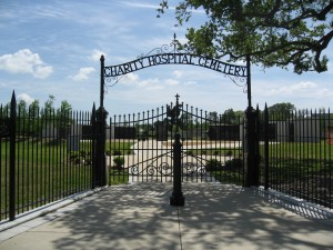 Figure 3. The Katrina Memorial. April 2010. Photograph by the author. The gates are all that remain of this section of the original Charity Hospital Cemetery.