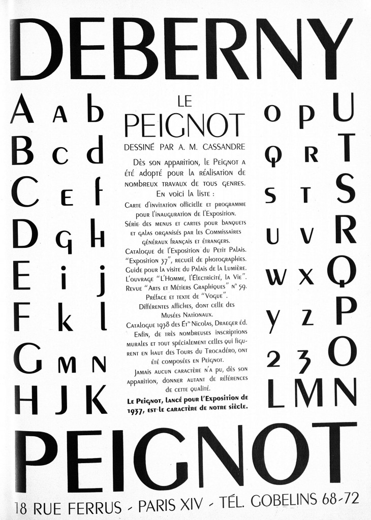 Figure 5. The Peignot typeface