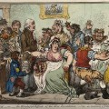 "Fig. 1. ""The Cow-Pock—or—the Wonderful Effects of the New Inoculation!"" [Edward Jenner vaccinating patients in the Smallpox and Inoculation Hospital at St. Pancras: the patients develop features of cows. Coloured etching by J. Gillray, 1802. Wellcome Library no. 11752i]"