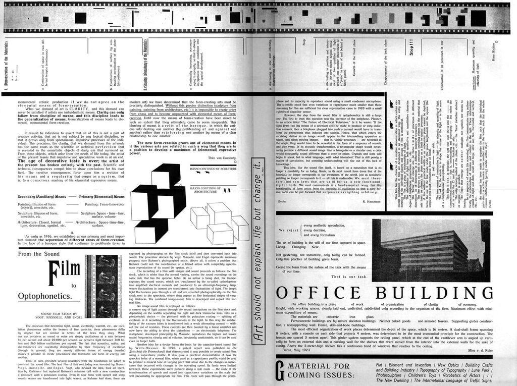 Figure 1. Centerfold in G 1 (July 1923) in G: An Avant-Garde Journal of Art, Architecture, Design, and Film, 1923-1926, ed.
